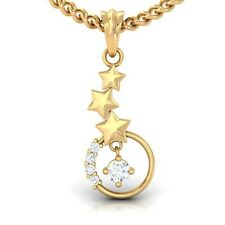 0.12ct IJ SI Round Solitaire Diamond Sparkling Pendant Star 18K Gold
