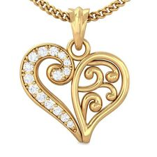 0.15ct IJ SI Real Diamond Filigree Heart Pendant Women Gift 18K Gold