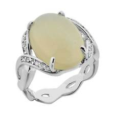 Women's Wedding Band Oval Cabochon White Agate White Gold Plated Engagement Ring