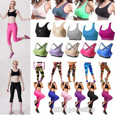 Womens Sports Bra Stretch Top Tight Cropped Pants Leggings Yoga Fitness Trousers