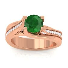 Green Emerald IJ SI Gemstone Diamonds Engagement Ring Women 10K Gold