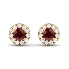 Red Garnet IJ SI Diamond Gemstone Womens Halo Stud Earring 18K Gold