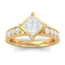 0.65ct IJ SI Womens Princess Diamond Solitaire Engagement Ring 18K Gold