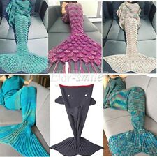 Super Soft Crocheted Mermaid Tail Blanket kids&Adult Sofa Sleeping Bag USA Stock