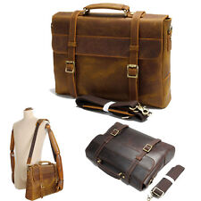 Men's Genuine Leather Briefcase Attache Case Messenger Shoulder Bag Daypack Pack