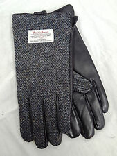 Mens Harris Tweed Charcoal & Black Leather Gloves Made in Scotland by Glen Appin