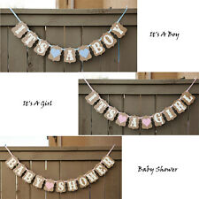 It's A Boy/Girl Hearts Bunting Banner Garland Baby Shower Party Hanging Decor