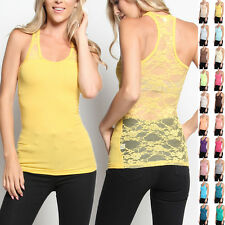 TheMogan Lace RACERBACK TANK TOP Basic Colored Ribbed Sleeveless Tee Shirts