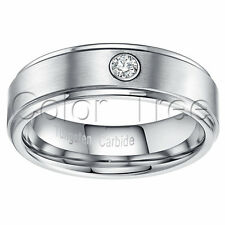 Tungsten Carbide Men's Wedding Band Ring 7mm 1 Crystal Inlay Brushed Size 5-13