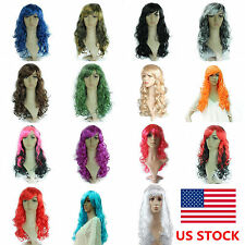 Colorful 50CM Wavy Curly Long Cosplay Costume Anime Full Wigs Adult Child Hair