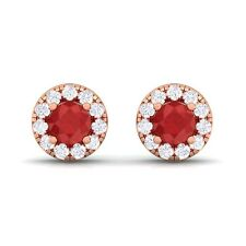 Red Ruby FG SI Diamond Gemstone Womens Halo Stud Earring 10K Gold