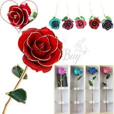 Genuine 24K Gold Dipped Trim Long Stem Rose Flower Valentine Mother's Day Gift