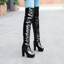 Sexy Womens Platform Patent Leather Boots Block High Heels Over The Knee Boots