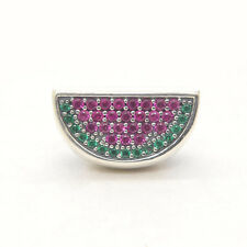 Genuine Authentic S925 Sterling Silver Watermelon Red & Green Pave Charm