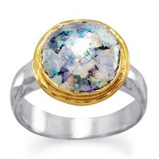 Women's 18K Gold Plated 925 Sterling Silver Ancient Roman Glass Ring Size 6-9