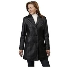 Excelled Button Front Lined Black Leather Coat Select 1  your Sz M or L  $245.95
