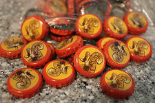 100 SHINER BOCK BEER BOTTLE CAPS TEXAS RAMS HEAD RED YELLOW NO DENTS FREE SHIPG