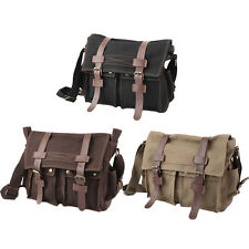 Men's Military Canvas ather Satchel School Laptop Shoulder Messenger Bag AG