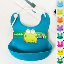 Baby Infant Waterproof Silicone Aprons Feeding Lunch Bibs Saliva Unisex Kids New