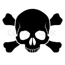 Skull Crossbones Vinyl Sticker Decal punk emo rock toxic bio hazard death 169
