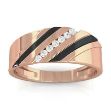 0.08ct FG SI Fine Channel Set Round Diamonds Mens Two Tone Ring 14K Rose Gold