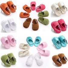 Size11-13cmBaby Soft Sole Tassel Suede Leather Infant Toddler Moccasin Shoes  QW