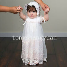Newest White Ivory Baptism Gowns Lace Applique Bow-Knot Christening Dresses +Hat