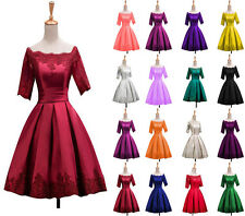 New Stock Short Satin Lace Up Prom Ball Gowns Bridesmaid Dress Formal Evening SZ