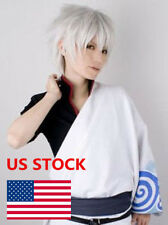 New Men Anime Gintoki Cosplay Silver White Short Hair Synthetic Full Wig Hair US