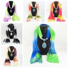 Tassel Beads Water Drop Jewelry Pendant Necklace Silk Scarves Wrap Shawl Scarf