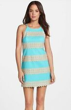 $288 New Lilly Pulitzer Annabelle SHIFT DRESS Shorely Blue Gold Lace Stripe 0 14