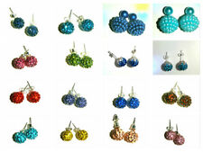MIXED COLOURS & SIZES SHAMBALLA CRYSTAL DISCO BALL BEAD DANGLE EARRINGS & STUDS