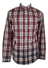 MARC ECKO Dress Shirt Men's Red Blue Madras Plaid Long Sleeve Button Front