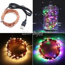 LED Copper Wire Starry String Lights with USB Cable for Home Outdoor Decorations