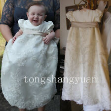 Baby Baptism Gowns Lace Applique Infant Christening Dresses White Ivory Newest