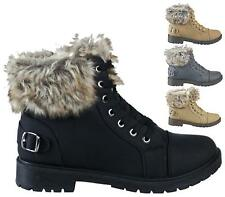 LADIES FAUX FUR LACE UP GRIP SOLE WINTER SNOW WOMENS ANKLE BOOTS SIZE 3-8