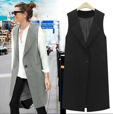 Womens Sleeveless Long Vest Coat Plus Size US OL Fashion Casual Size Hot Work