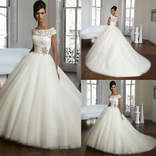 New White/Ivory Long Wedding Dress Formal Bridal Ball Gown STOCK Size 6-16+ 2017