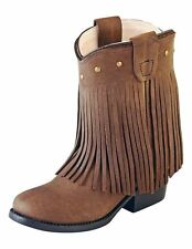 OLD WEST TODDLER GIRLS BROWN FRINGE WESTERN BOOTS 3125