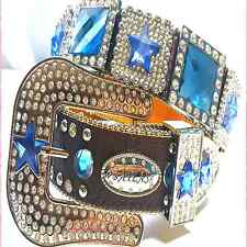 Western Cowgirl Rhinestone Blue Crystal Dark Brown Leather Belt Limted Editn lot