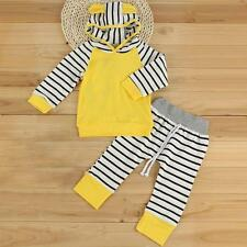 Newborn Kids Baby Boys Girls Striped Hooded Tops Pants Outfits Clothes Set 0-24M