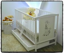 BABY Cot Bed With Drawer Wood White Pine Mattress