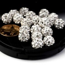 10/20Pcs Fashion Crystal Rhinestones Pave Clay Round Disco Ball Spacer Beads CF