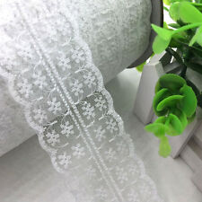 5/10Y White embroidered Lace trimming Appliques wedding craft cloth