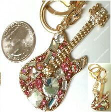 Rhinestone Pink Guitar Crystal Token Purse Charms Keychain Bling Accessories lot