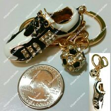 Rhinestone Crystal Soccer Shoe Handbag Purse Charms Keychains Accessories lot