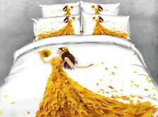 Woman Leaf Dress White King Queen & Twin Size Duvet Cover Bedding Set Lovely