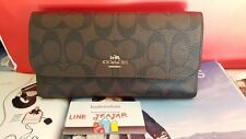 NWT COACH SIGNATURE COATED CANVAS CHECKBOOK WALLET F52681