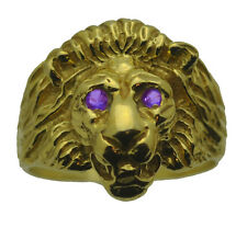 New Lion Ring Sterling Silver Jewelry Cat 24kt Gold Plated amethyst eyes stones