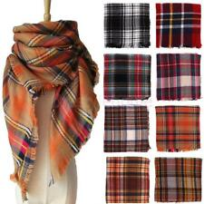 Warm Tassels Plaid Cashmere Scarf Check Wool Shawl Pashmina Wraps for Women